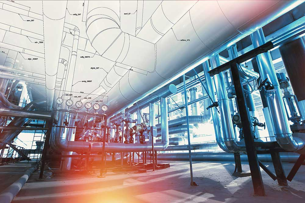 interior view of a heavy industrial site with pipes and a 3D scan overlayed